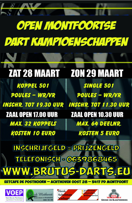 Open Montfoortse Dart Kampioenschappen 28 en 29 maart bij de Posthoorn Montfoort